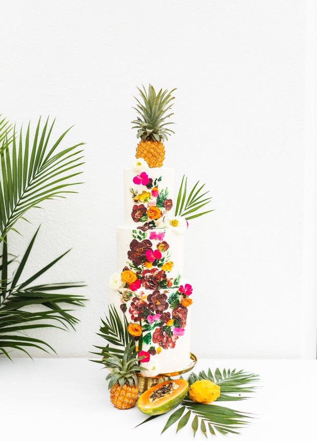 tropical wedding cake design