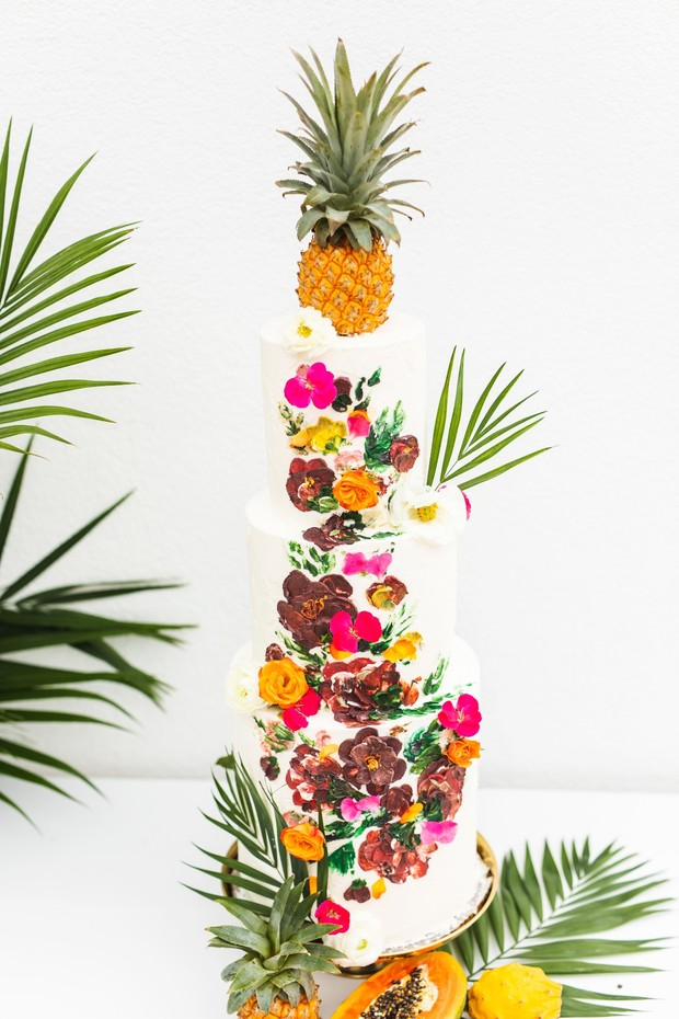 tropical pineapple wedding cake