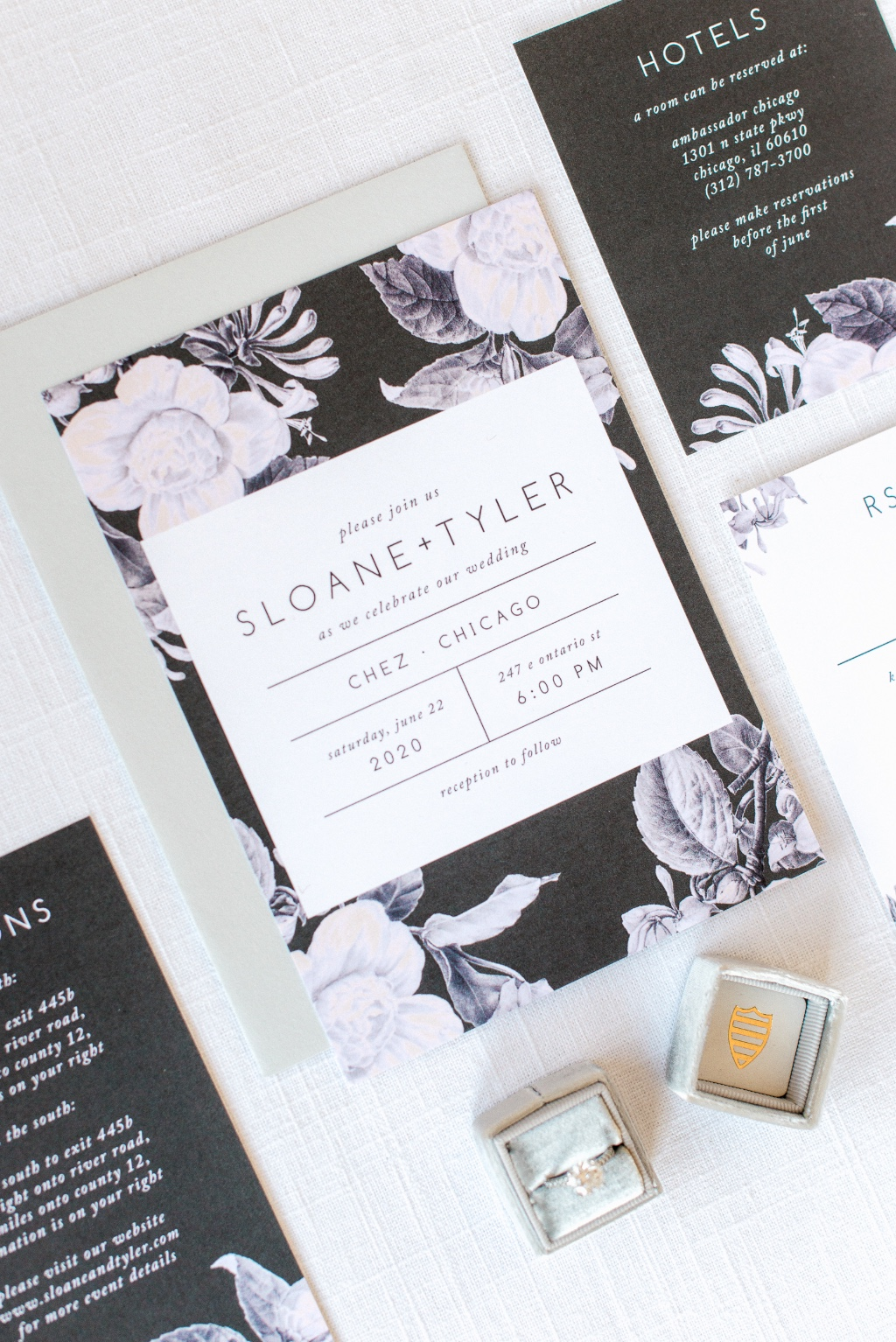 The contrast between the dark colors and florals on our Vintage Mood Wedding Invitations create a one of a kind look!