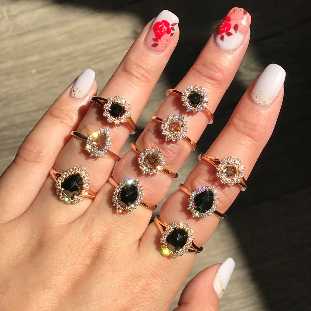 We love rose cut diamonds! Here we have our Tiara Halo and Vintage Luna Halo Rose Cut Diamond Rings in various shapes and color ~ Shop