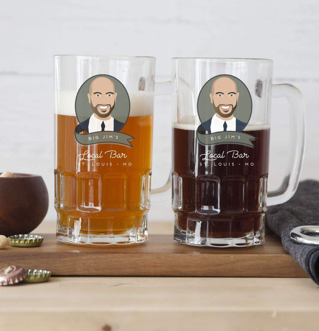 This customized set of beer mugs is the perfect gift for the guy who has everything! These are perfect for a home bar, man cave, office
