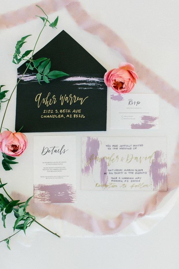 mauve gold and black wedding invitations