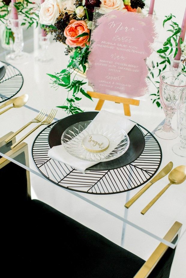 modern gold and black place setting