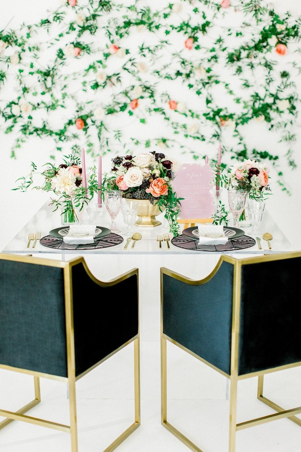 modern springtime themed wedding table decor