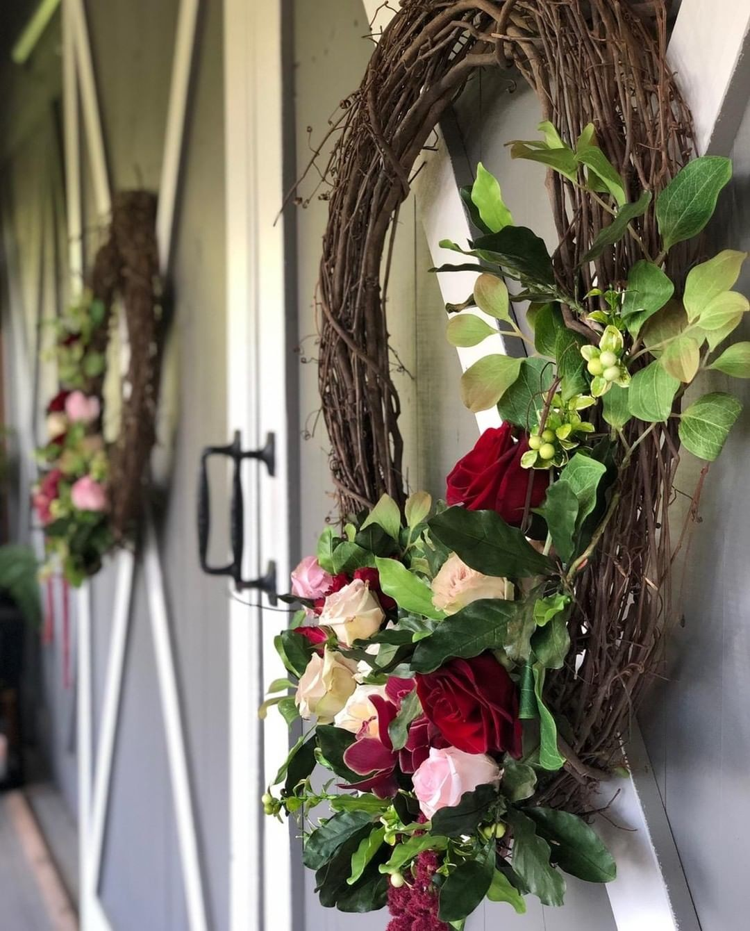 Any color palette truly pops on our newly painted ceremony doors! We love the new update to the farm!