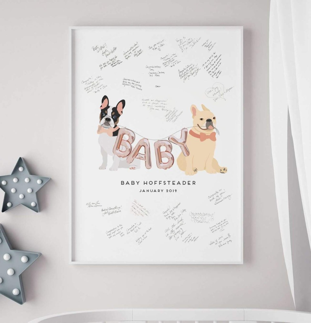 If your pets are excited to be big brothers and sisters to your baby on the way, this fun baby shower guest book alternative is for