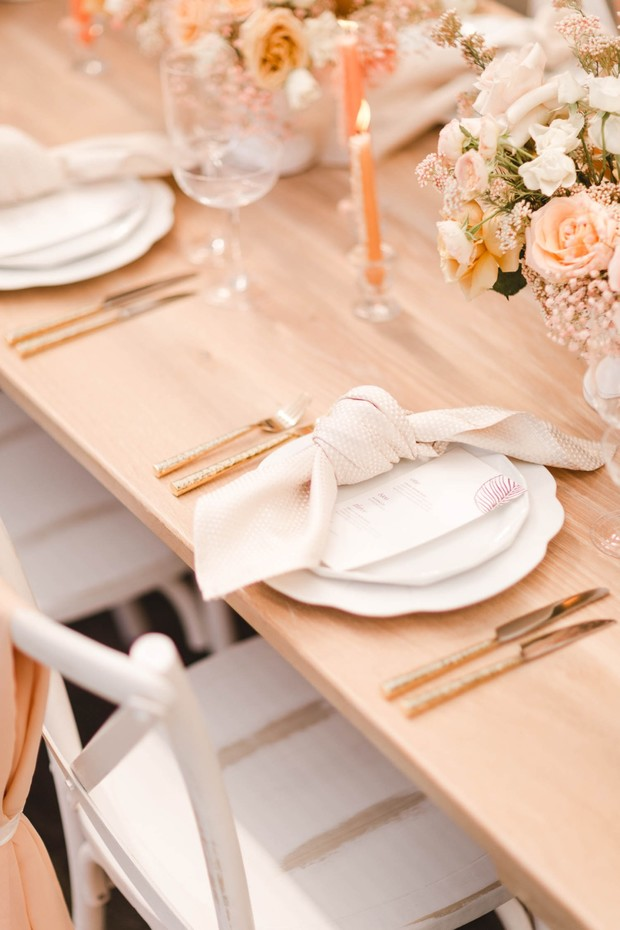 blush and gold wedding place setting