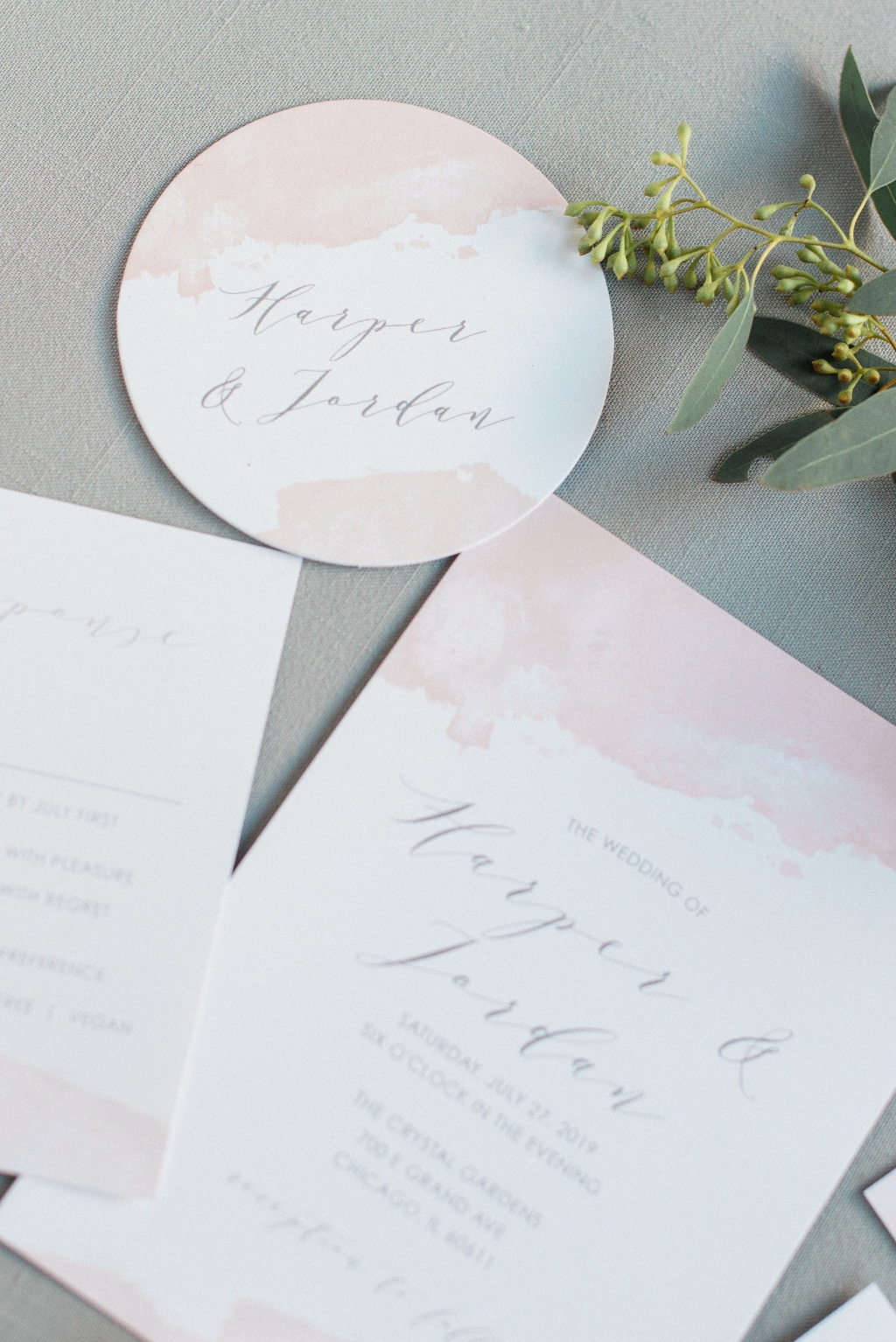 Add matching coasters to bring your Dip Dye Wedding Invitations Suite full circle. Your guests will appreciate little details that