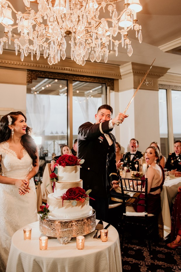 cake cutting with a sword