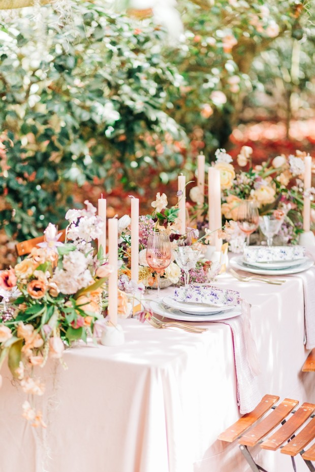 candles and florals centerpiece