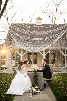Blush and Grey Wedding Inspiration With a Light Tunnel