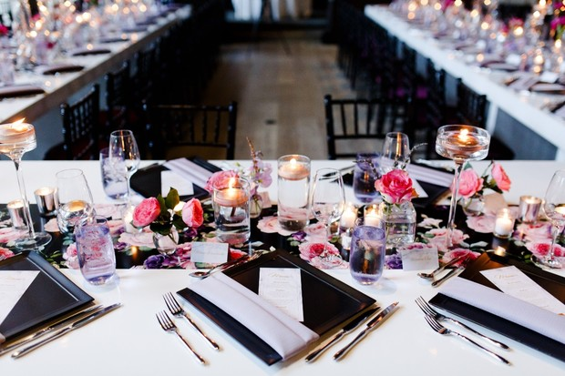 modern floral wedding reception