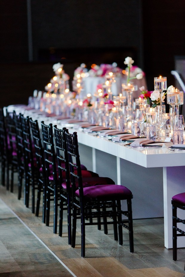 modern candle lit wedding reception