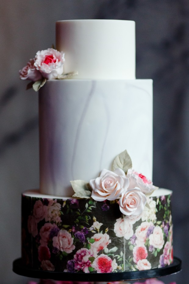 modern marble and floral wedding cake
