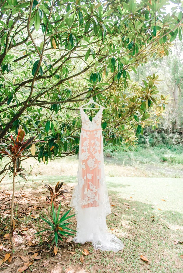 blush wedding dress from Goddess By Nature