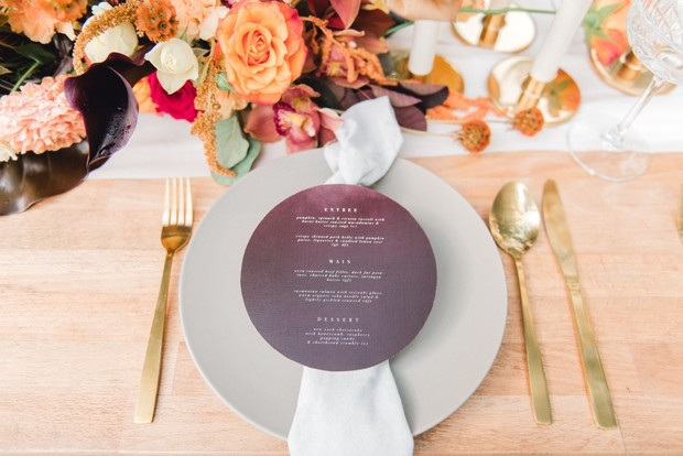 round wedding menu design
