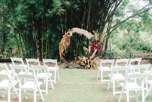 ceremony backdrop florals