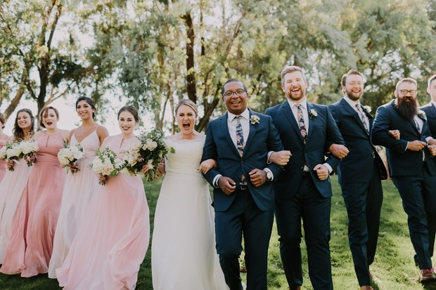 wedding party in blue and pink