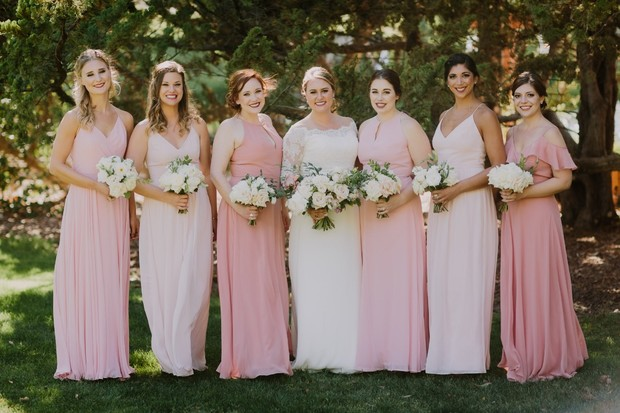 bridesmaids in mix matched pink