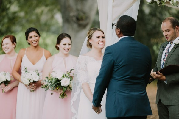 An Effortless Looking Wedding Day In Navy And Pink