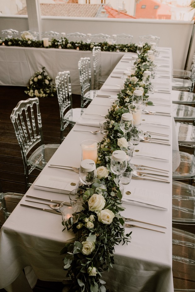 white and greenery wedding table decor