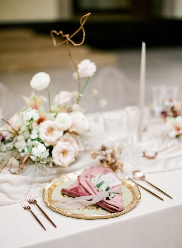 Wedding reception design in blush and gold