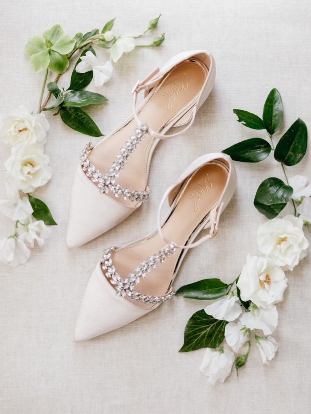 Jeweled t-strap shoes for bride