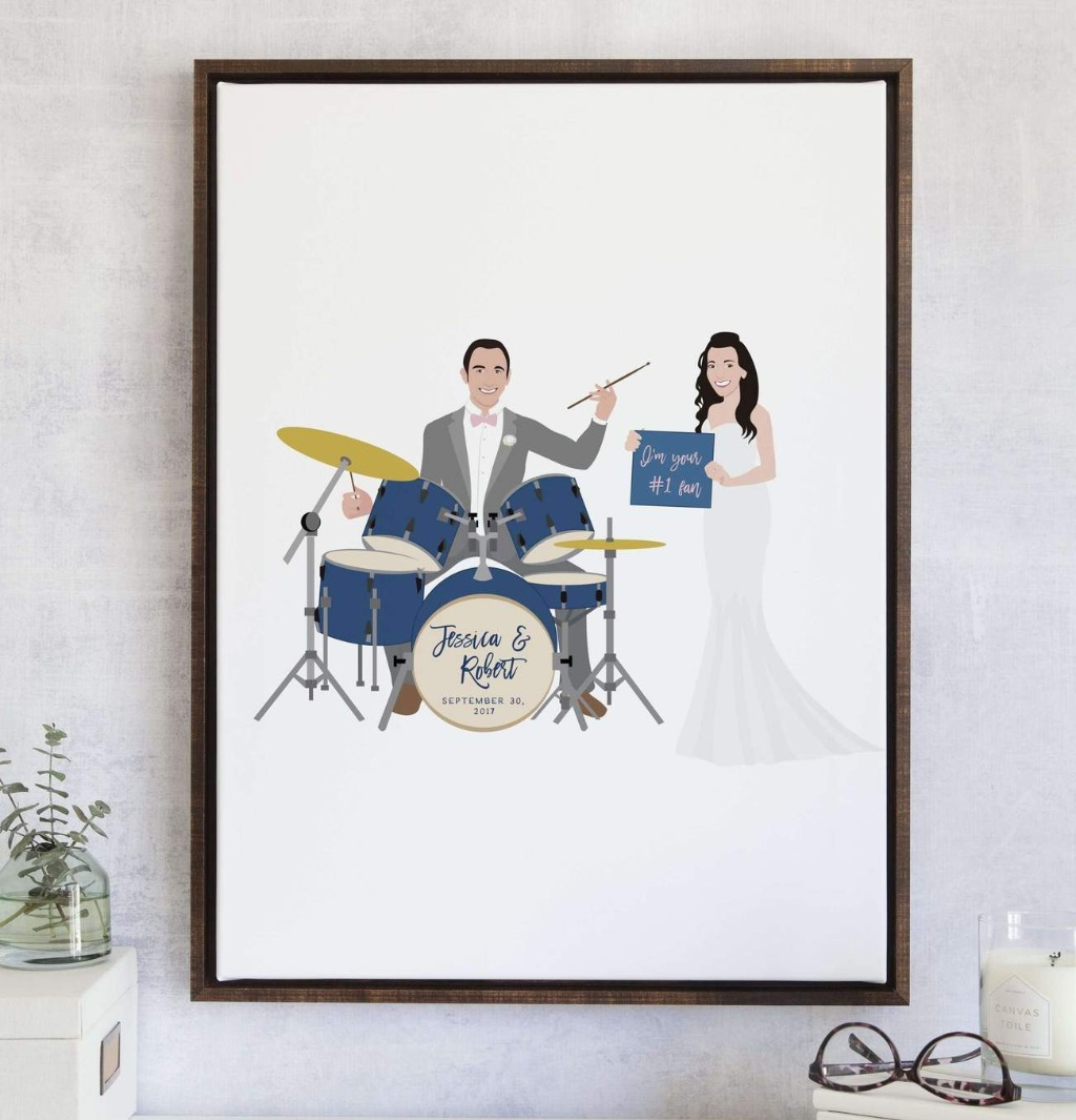 Every couple has those special things that make them unique. This fun twist on our #1 Best-Selling wedding portrait guest book alternative