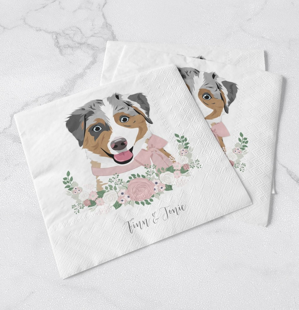 If you are looking for more ways to include your pet in your wedding, nothing is cuter than napkins featuring your fur babies!