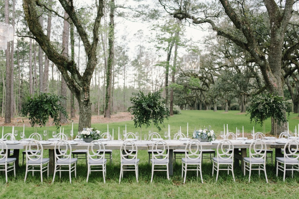 A beautiful Lowcountry Dinner party under the Oaks in Pineland, South Carolina.