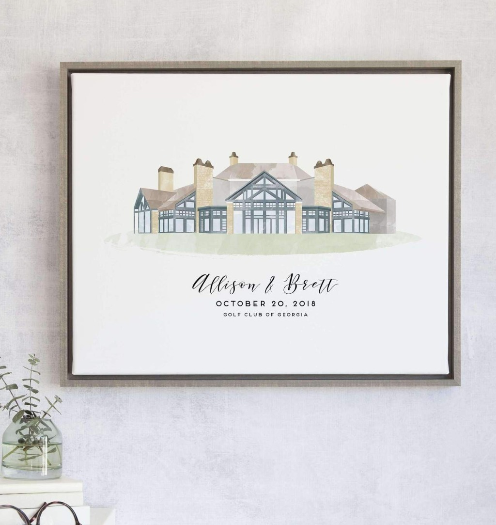 Our beloved watercolor style guest book is now available with a custom wedding venue illustration for your guest book alternative!