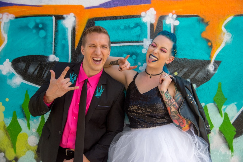 If you love bright colors but also love to rock out to The Clash, we have the perfect inspiration for you! This punk rock wedding combines
