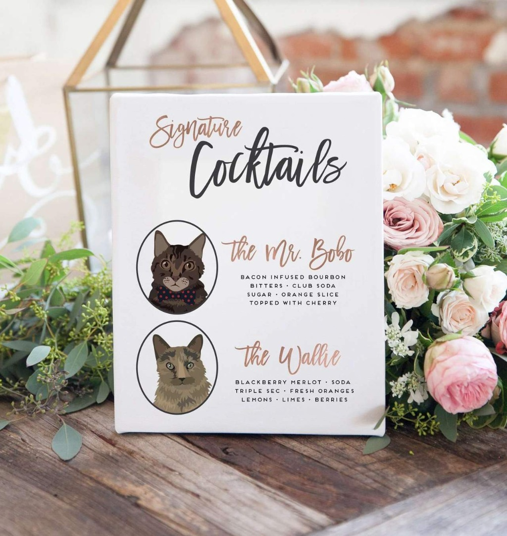 Our custom pet portrait cocktail sign goes beyond your average wedding bar sign. This custom work of art features illustrations of