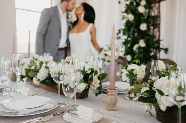 blush and white wedding table setting
