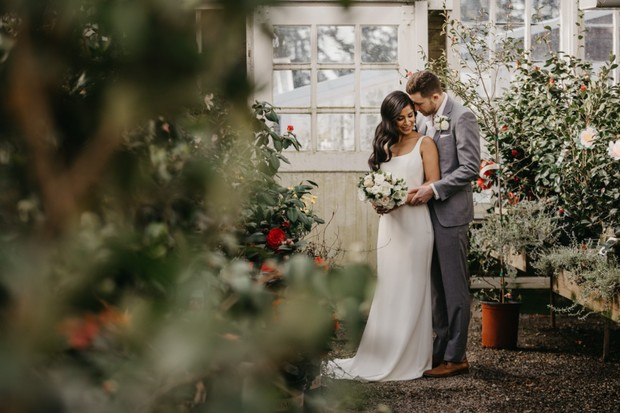 wedding at a flower nursery