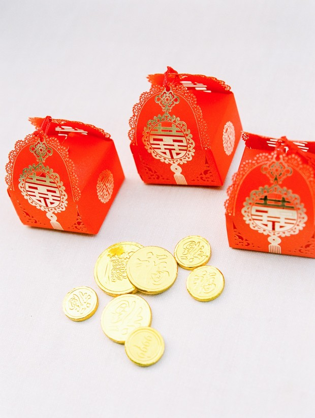 gold and red favor box