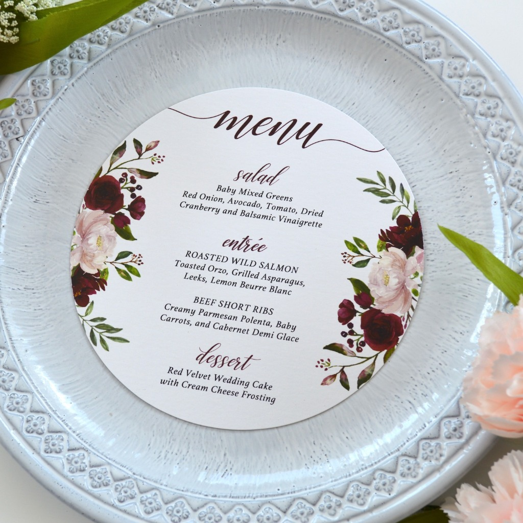 How charming are these round menus with a burst of floral designs. Perfect for a bridal shower brunch or outdoor wedding reception