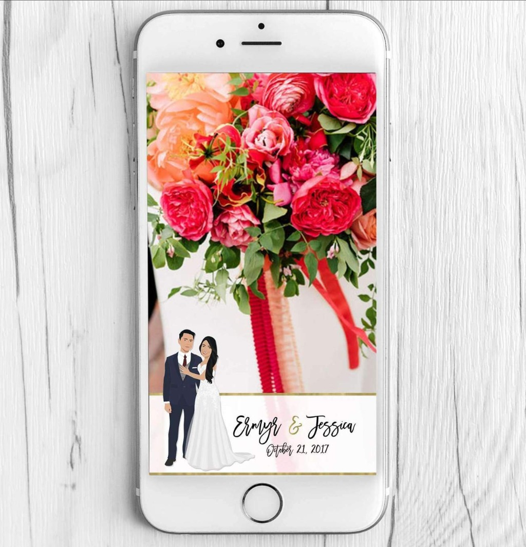 This custom illustrated wedding snapchat filter features illustrations of the couple, and will be a HUGE hit at your ceremony, reception