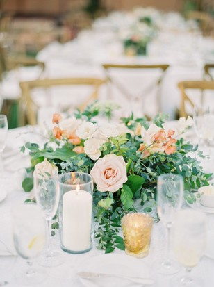 blush and gold wedding centerpiece