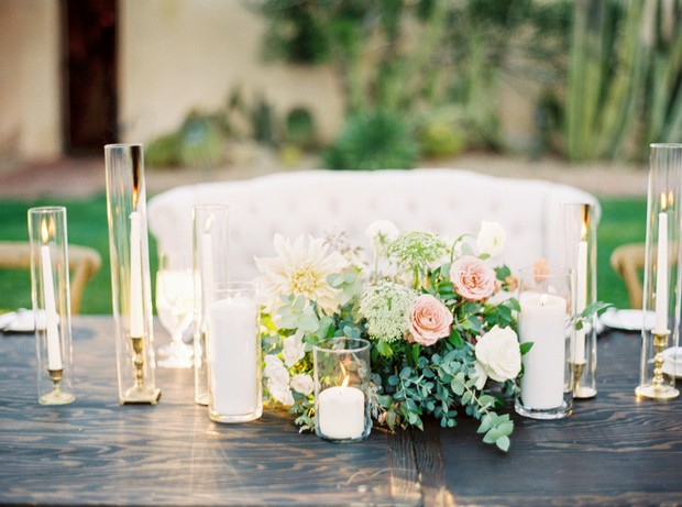 blush and green and gold sweetheart table