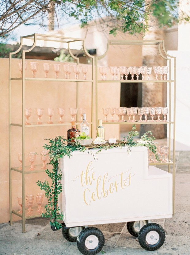 wedding bar in blush and gold