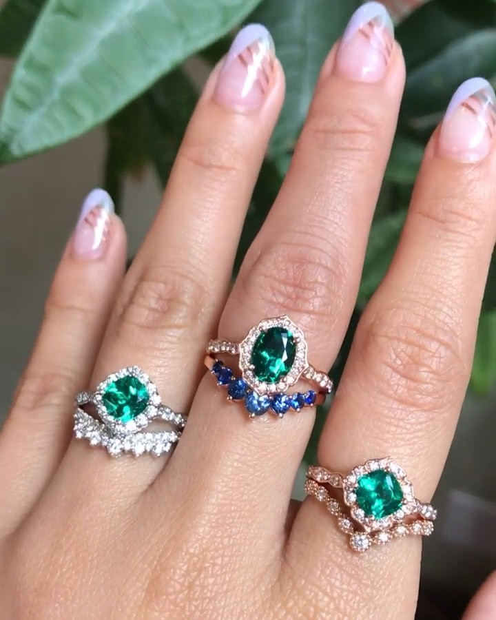 💚May's beautiful birthstone is EMERALD! 💚 Here is one of our favorite stacking request from our La More Design's customer this