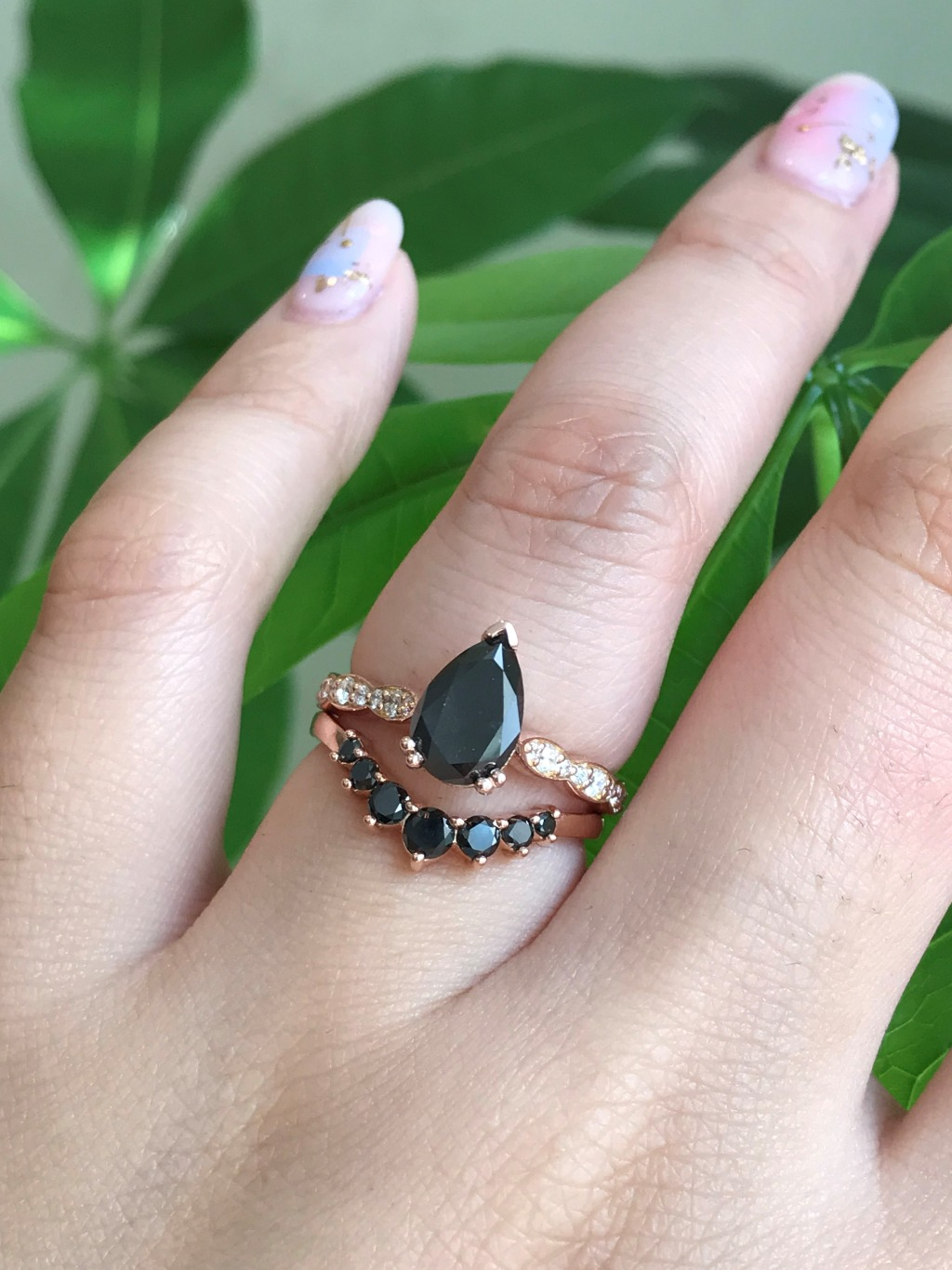 Black Diamond pairs beautifully with any gemstone but it pairs gorgeously with a black diamond, don't you agree? Here is our Pear Cut