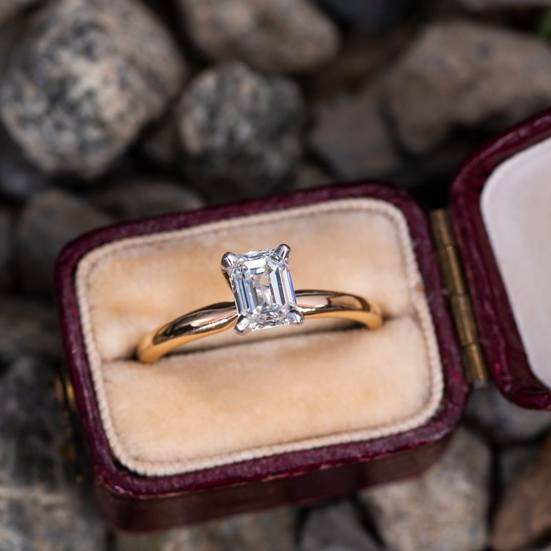 Emerald Cut Diamond Solitaire Engagement Ring 14K Yellow Gold