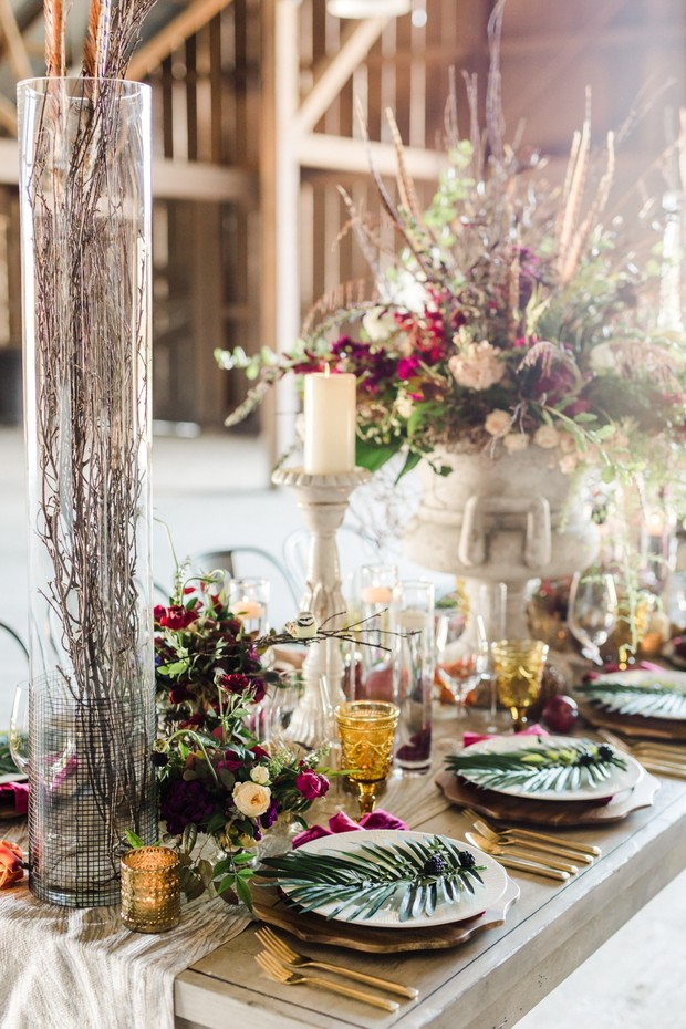 rustic boho wedding reception
