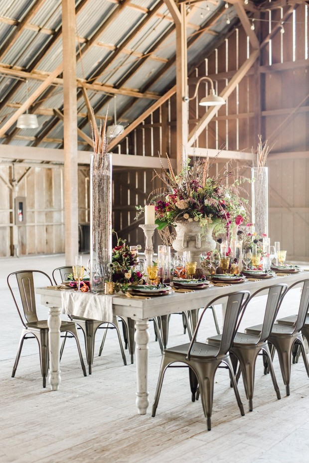 rustic wedding reception with boho charm