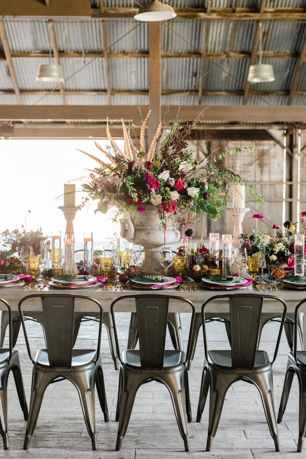 modern boho wedding reception