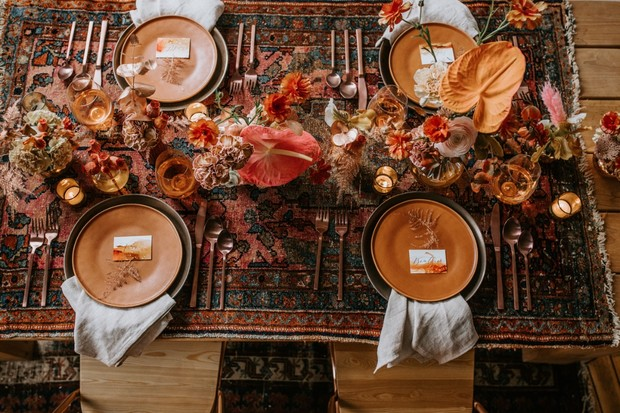 Vintage boho wedding table decor