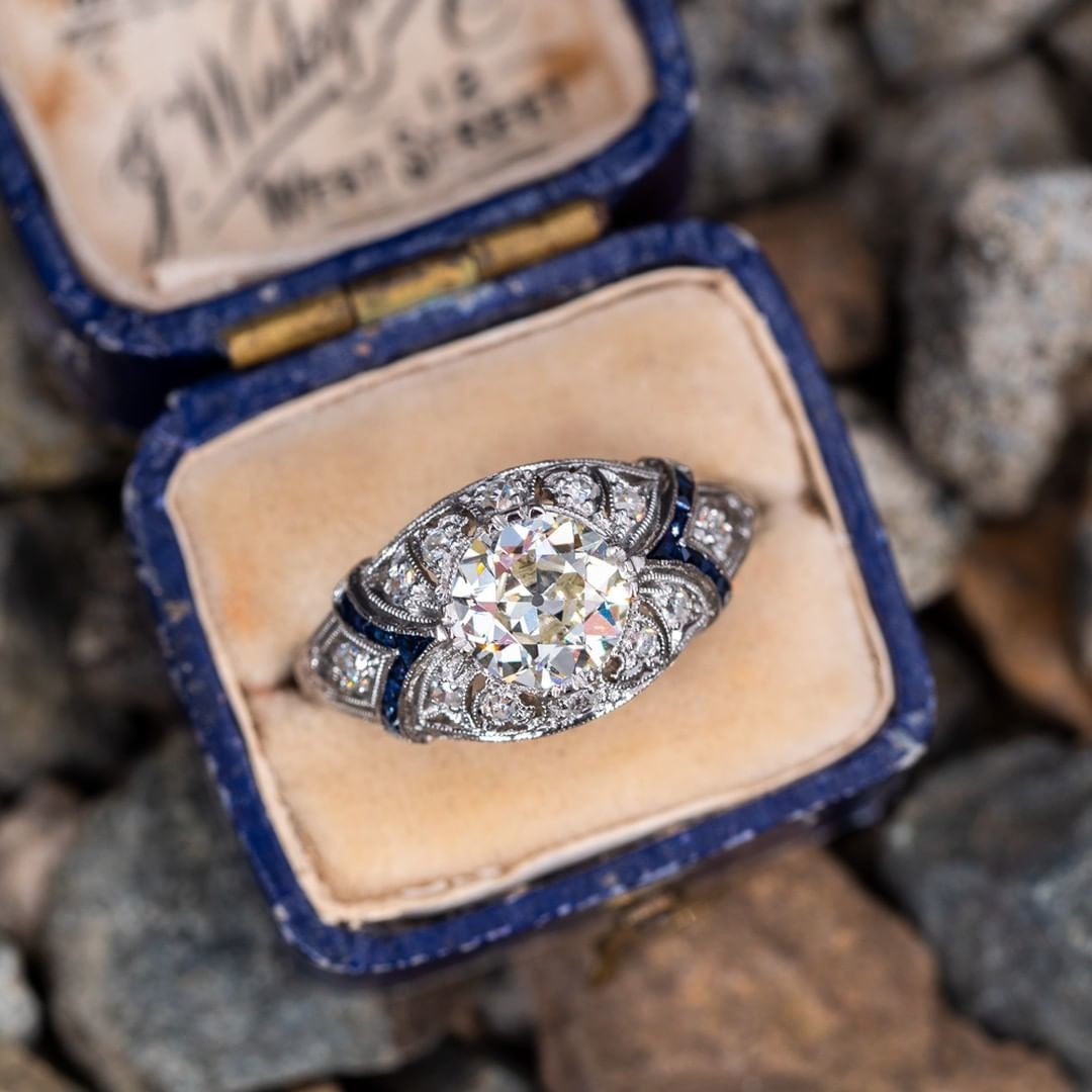 Art Deco Engagement Ring Old Euro Diamond Filigree Sapphire Accents