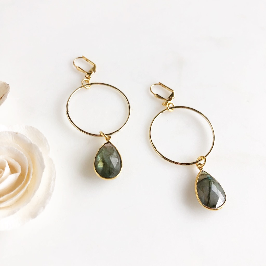 Gorgeous labradorite drops on gold hoops. Ear wire is gold plated brass.